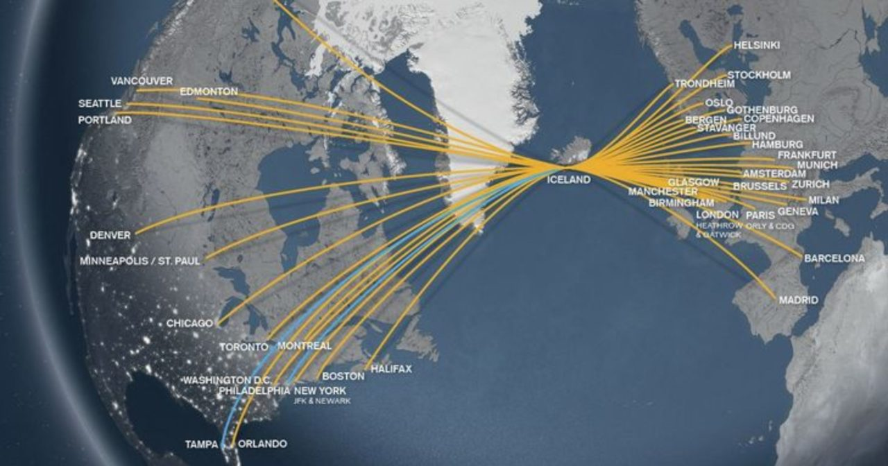 The Icelandair routemap